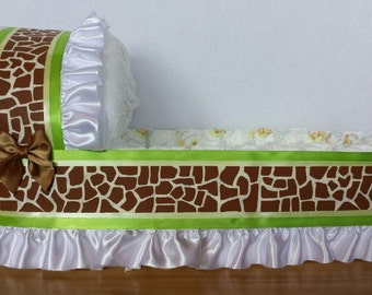 BIG giraffe neutral diaper bassinet baby shower gift basket or centerpiece