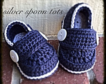 Baby Boy Stay On Button Loafers Crochet Baby Booties Loafers Navy White Baby Shoes Made to Order