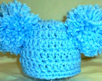 Baby Girl or Baby  Boy or Toddler Hat Crochet Hat, Pale Blue Double Pom Pom Hat, Double PomPomHat, Baby Beanie Baby Gift, Photography Prop