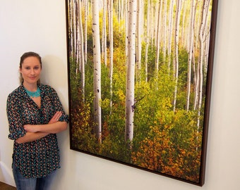"40"" x 60"" Print On Canvas, Colorado Aspen Trees, Print on Canvas, Fine Art Print - ""Warm Weather Aspens"""