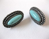 Turquoise Earrings Oval with Silver Design Faux Jewelry Screw On Cabochon Vintage