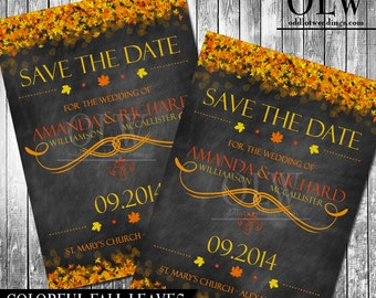 Fall Leaves Save the Date Invitation Chalkboard Save the Date Invite Printable wedding save the date card Autumn Wedding announcement