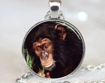 Chimpansee Monkey Wildlife Handcrafted  Necklace  Pendant with Ball Chain Included(PD0270)