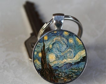 Starry Night Vincent Van Gogh Glass Dome Keychain (GDKC0148)