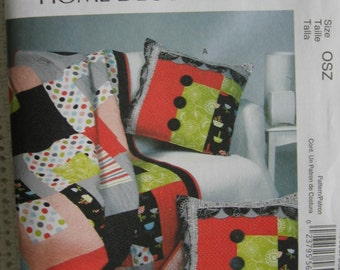 McCalls Home Decoration Quilt and Sham Sewing Pattern M6580 UC Uncut FF Bedding