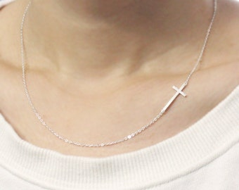 Sterling Silver Sideways cross Necklace, off centered- Sideways cross necklace, simple necklace, Christmas Gift