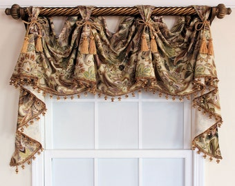 Jacobean victory valance  swag with or without tassel trim and chairties in natural,black or spa