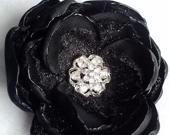 Onyx fascinator, black wedding/photo accessory, black handmade satin and mesh lace flower
