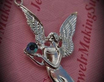 Huge Genuine Silver Plated Swarovski Crystal Angel Pendant In Light Sapphire AB