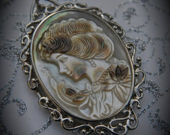 Genuine Silver Plated Carved Mother Of Pearl Cameo Pendant