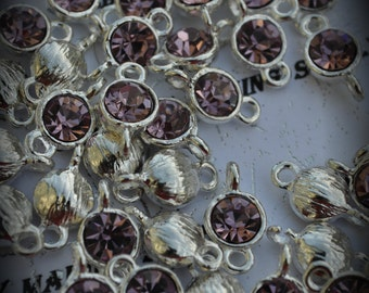Light Amethyst Large Genuine Sterling Silver Plated Swarovski Crystal Connectors Link U100
