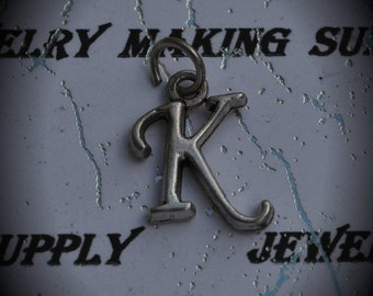Letter K Sterling Silver Plated Charm