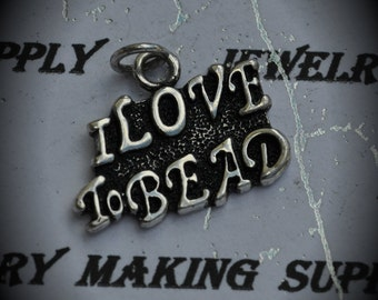 I Love To Bead Sterling Silver Plated Charm