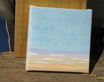 soft seascape, pastel shades of sea and sky, 3x3 canvas