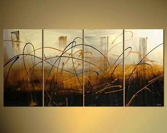 "Abstract City Painting Modern Original Acrylic Painting, Acrylic Abstract by Osnat - MADE-TO-ORDER - 60""x30"""