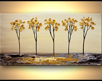 "Original Modern Painting 48"" x 24"" Contemporary Palette Knife Textured Gold Blooming Trees by Osnat - MADE-TO-ORDER - 48""x24"""