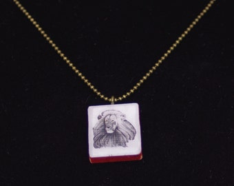 Photo Pendant Necklace - Lion - jewelry - scrabble tile necklace
