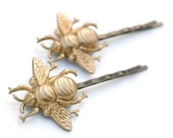 Golden Bumble Bee Bobby Pin Pair