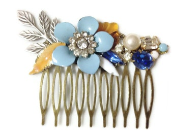 Something Blue Bridal Collage Hair Comb OOAK - Wedding, Bridal, Bridesmaid Statement Piece