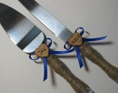 Rustic Cake Server and Knife Set With Bonus Keepsake Bag - Personalized for your Country Themed Wedding - Shown with Royal Blue Ribbon