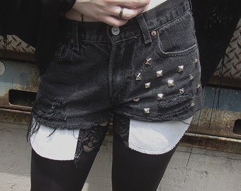 Distressed Black Studded High Waisted Shorts