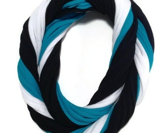 Carolina Panthers Loopy Tshirt Infinity Scarf - Upcycled from Recycle Tshirts - Black Carolina Blue WhiteJersey Necklace
