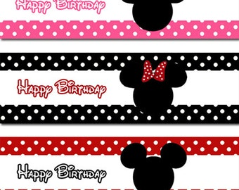 INSTANT DOWNLOAD - DIY Mickey and Minnie Mouse Water Bottle Labels