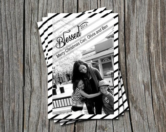 Blessed in 2015 Black and White Stripe Photo Holiday Christmas Greeting Card or Invitation   - Any Color