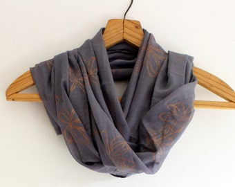 Copper Daisy hand block printed Indian cotton scarf shawl
