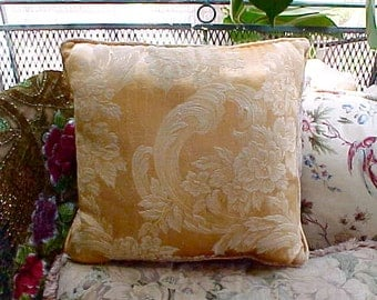 Pretty Silky Vintage Damask Pillow in Golden Apricot Color
