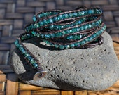 SALE-Wrap bracelet, teal blue iridescent swarovski crystals, beach bracelet, beaded 5 wrap bracelet, Boho, Casual, Stacked, unique gift, gem