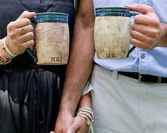 Woodland Personalized Mr. and Mrs. Ceramic Coffee Mugs- Couple Wedding