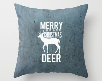 Throw Pillow, Decorative Pillow, Cushion Cover, Holiday Gift, Stocking Stuffer, Christmas Presents, Quote PIllow, Blue Xmas Decor, Gift Idea