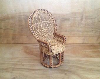 Vintage Miniature Wicker Chair -  Rustic, Black Stripe, Round, Farmhouse