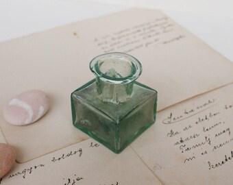 Antique Glass Ink Bottle pt.6 - Vintage Green Ink Bottle - 1930's