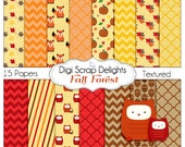 Autumn Fall Digital Papers Fox, Leaves, Pumpkin, Quatrefoil, Chevron, Brown, Orange, Gold,  w Owl Clip Art, Textured,