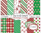 Christmas Digital Papers, Candy Backgrounds w  Candy Cane, Peppermint, Gum Drops,  Red, Green for Cards, Digital Scrapbook,  Instant