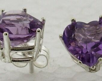 sterling silver 8x8  mm facet amethyst heart stud earrings  4412T