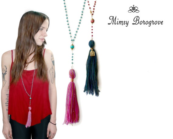 Tassel necklace. Indie Boho jewelry. Turquoise and Ruby rosary necklace. Long Necklace 22k Gold Vermeil NL-1245