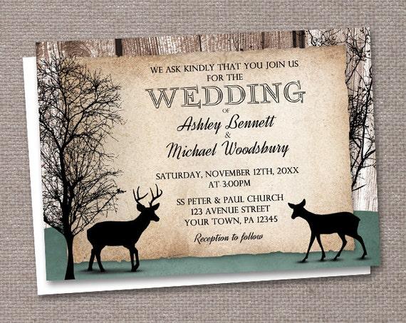 Deer Wedding Invitations: Rustic Deer Wedding Invitations Printed Or By
