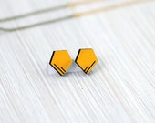 earrings »two lines in a pentagon« yellow geo wood