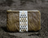 Coin purse, traditional Japanese hand embroidered cotton with leather, Geometric pattern