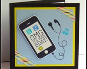 OMG Its Your BDAY! Blue Version Handmade hand stamped  Fun, funky & modern birthday cards - mobile phone, ipod