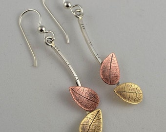 Mixed Metal Earrings - Dangle Metal Earrings - Copper Leaf Earrings