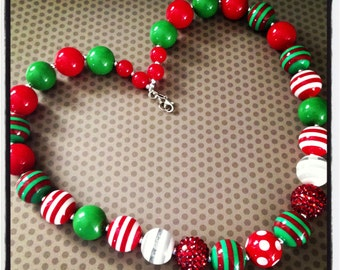 Red and Green...Christmas Chunky Bead Necklace...Necklaces...Childrens Jewelry...Chunky Beads...Jewelry...Girls Necklaces