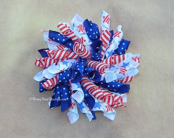 "BIG Patriotic Stars and Stripes Korker Hair Bow - 3.5"" RoseyBow® American Flag Korker Bow - Pom Pom Hair Bow - Americana 4th July Hair Bow"