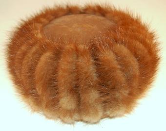 Vintage Brown Mink and Velour Pillbox Hat