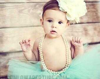 Teal Couture tutu set with oversized ivory flower  headband newborn photography prop Newborn-3T