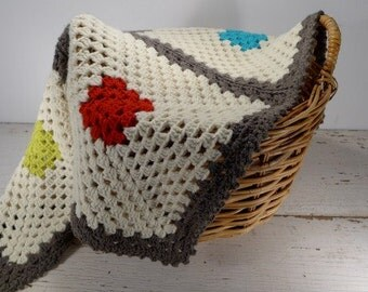 25% Wool - COLOR BLOCKS-  Granny Square Crochet Baby Blanket with Picot Edging - Easy Care - Natural,Gray,Red,Orange,Aqua,Chartreuse