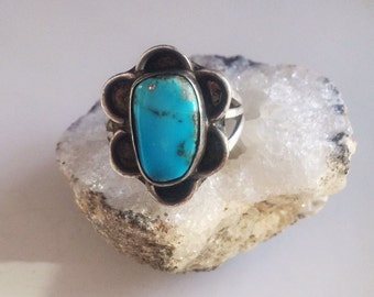 Vintage Navajo Turquoise Ring, Southwestern Jewelry, Sterling Ring, Sz 71/2 Ladies Vintage Ring, Sleeping Beauty